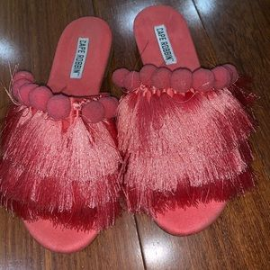 Fringe sandals with pom poms